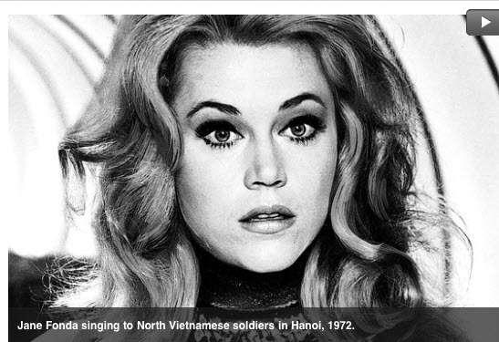 Jane Fonda singing to North Vietnamese soldiers in Hanoi, 1972