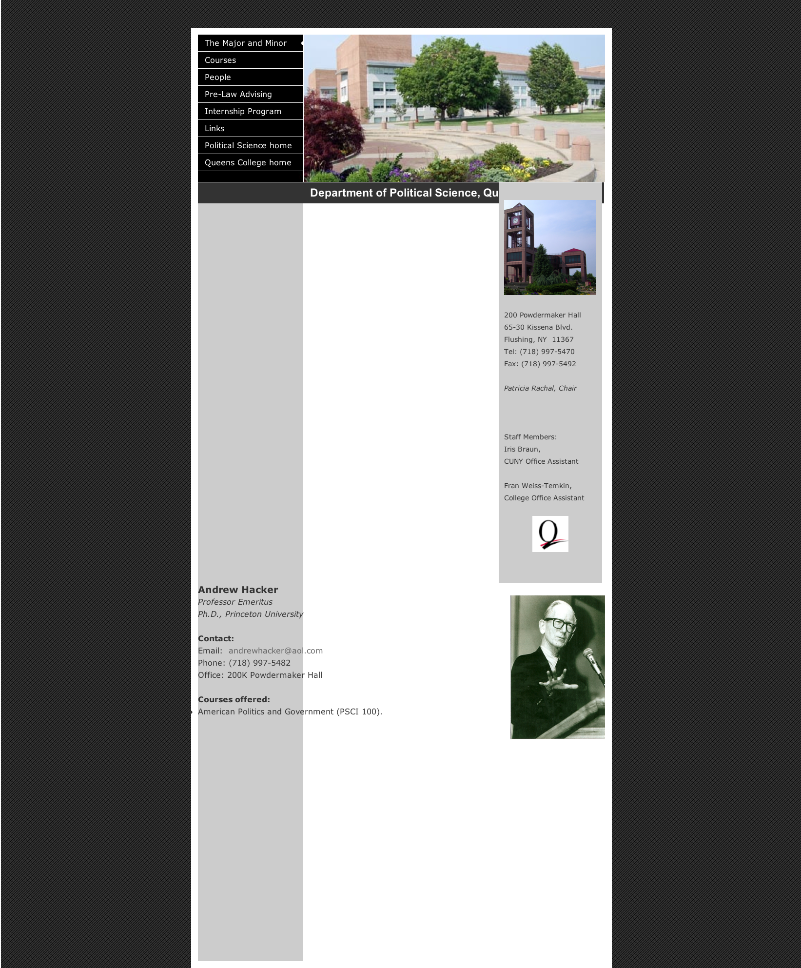 Queens College Info Page, Andrew Hacker