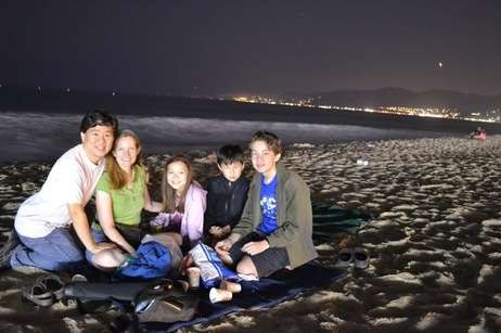 David and Bryn Oh with their three kids on Santa Monica Beach