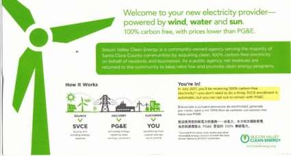 SVCE fliier front Silicon Valley Clean Energy