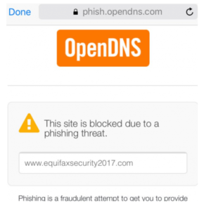 Equifax Site Generates Phishing Error
