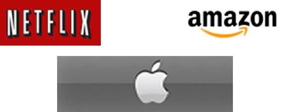 Netflix, Amazon, and Apple logos