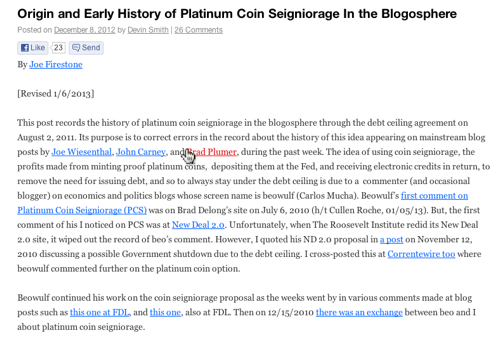 History of Platinum Coin Seignorage in the Blogosphere