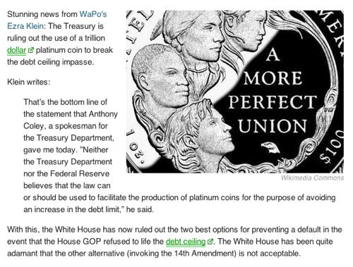 White House Says No to Trillion Dollar Coin