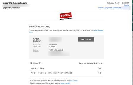 Email February 21, 2014 Magenta Shipped Again